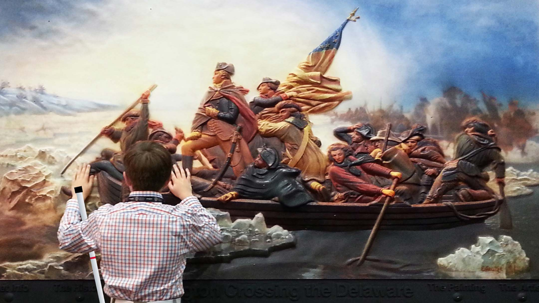"Luc with ""George Washington Crossing the Delaware"""